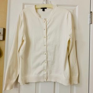 Lands End White Cardigan with pearl buttons SizeXL